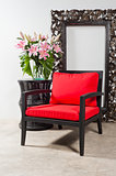 Black red Chair and side table