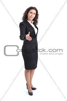 Beautiful mature businesswoman ready to handshake