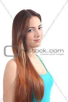 Beautiful redhead teenager smiling