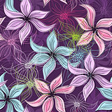Repeating violet floral pattern