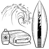 Surfing gear sketch