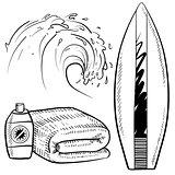 Surfing gear sketch