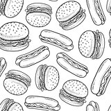 Seamless hamburger and hot dog background