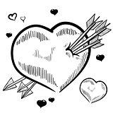 Pierced heart sketch