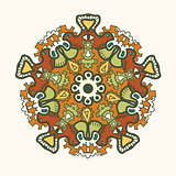 Ornamental round lace pattern. Colorful delicate circle.