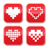 Pixel heart love vector buttons set