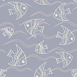 Fish and waves seamless pattern