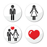 Wedding icons - married couple, groom and bride