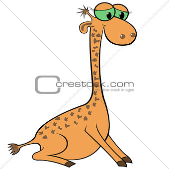 Giraffe Cartoon Vector Illustration
