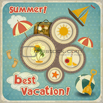 Summer Vacation Card in Vintage Style