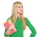 Student girl looking on copy space