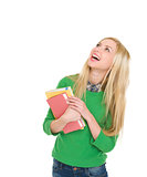 Portrait of smiling student girl looking up on copy space