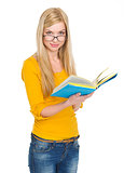 Student girl in glasses reading book