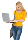Student girl working laptop