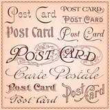 Vintage postcard letterings vector