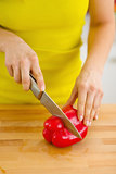 Closeup on woman cutting red bell pepper on cutting board