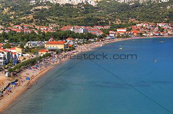 Long sand beach in Baska, Krk island