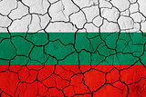 Flag of Bulgaria over cracked background