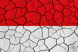 Flag of Monaco over cracked background