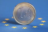 One Euro on the European Union flag