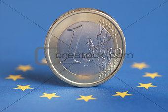One Euro on the European Union flag