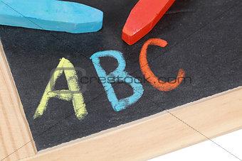 ABC on a blackboard at an elementary school