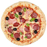 Pizza with ham, pepperoni and mushrooms