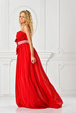 beautiful woman in red long dress.