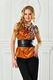Beautiful blonde in mustard color blouse.