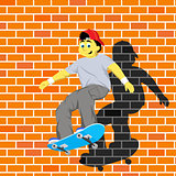 Vector illustration of boy jumping with skateboard