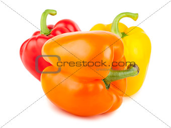 Three sweet red, orange, and yellow peppers