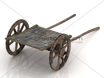 Old wagon cart with wooden wheels