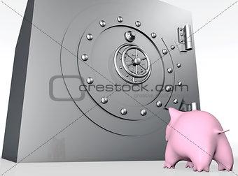 pig piggy is watching a safe