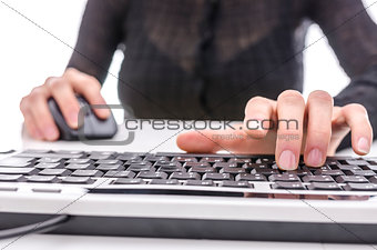 Closeup of a woman surfing the internet