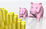 pink piggy indicates a stack of coins