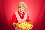 Granny Holding Lattice Top Cherry Pie