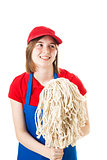 Teen Worker in Uniform with Mop