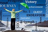 Successful Woman Green Umbrella & Melting Glacier