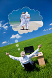 Businessman Dreaming Vacation Retirement Desk Green Field