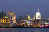 Evening view of the Thames and St Paul&#39;s Cathedral. London
