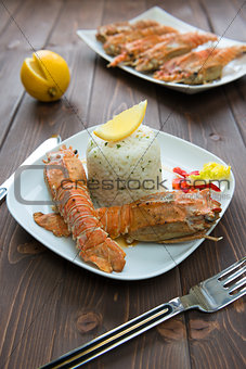 Rice with lobster