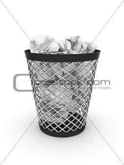 Trash bin with crumpled paper