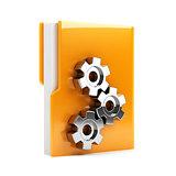 Folder with gears