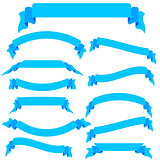 Set  blue ribbons  and banners, vector illustration