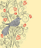 Abstract floral background with beautiful bird