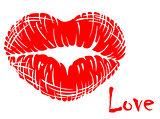 Red lips in heart shape