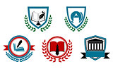 Set of abstract university or college symbols