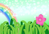 Vector illustration of nature landscape with rainbow