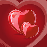 Vector illustration of couple of red hearts on red background