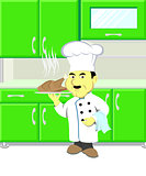 Vector illustration chef with roast chicken in kitchen